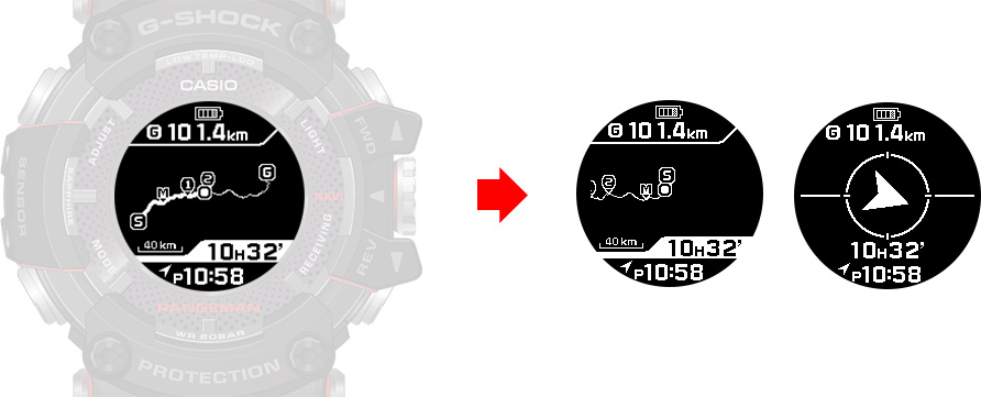 G-SHock GPR-B100 series-GPS satellites to display